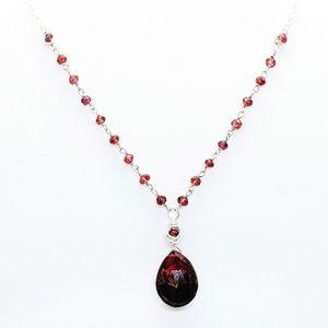 Necklace - Garnet & sterling silver